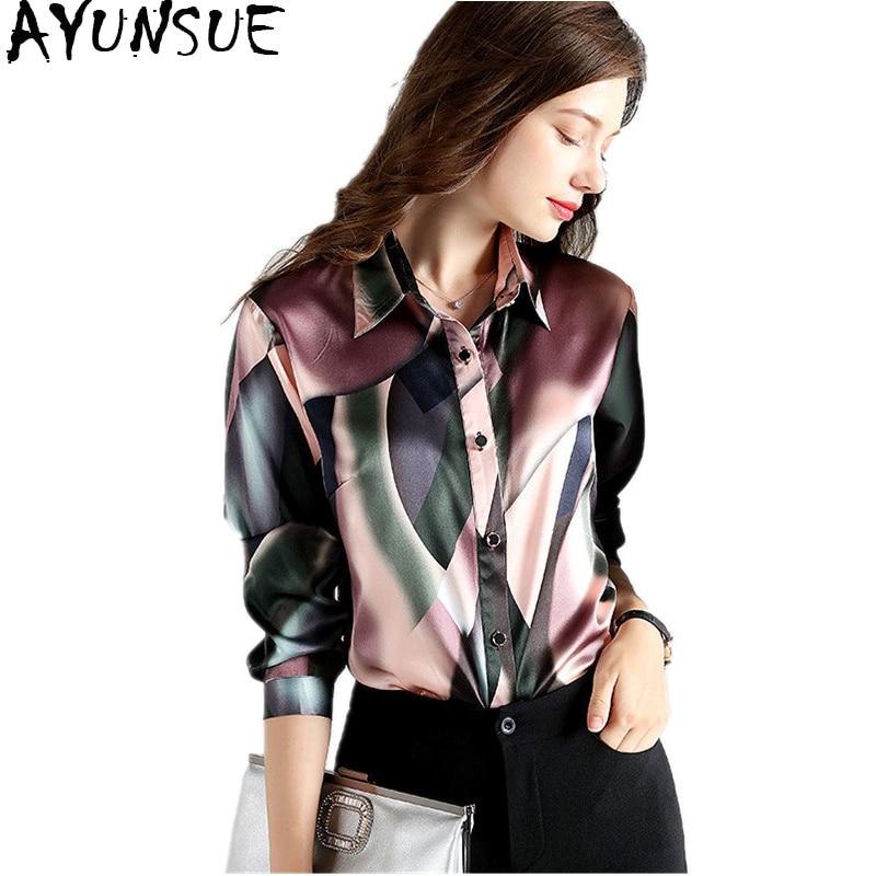 AYUNSUE 2018 Printemps Mode 92% Soie Blouse Bureau Femmes de Chemise À Manches Longues Femmes Tops Blouses Plus La Taille blusa feminina YQ1072