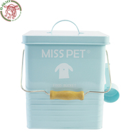 Large capacity Moisture proof Metal box storage canister food bin for pet food cat dog