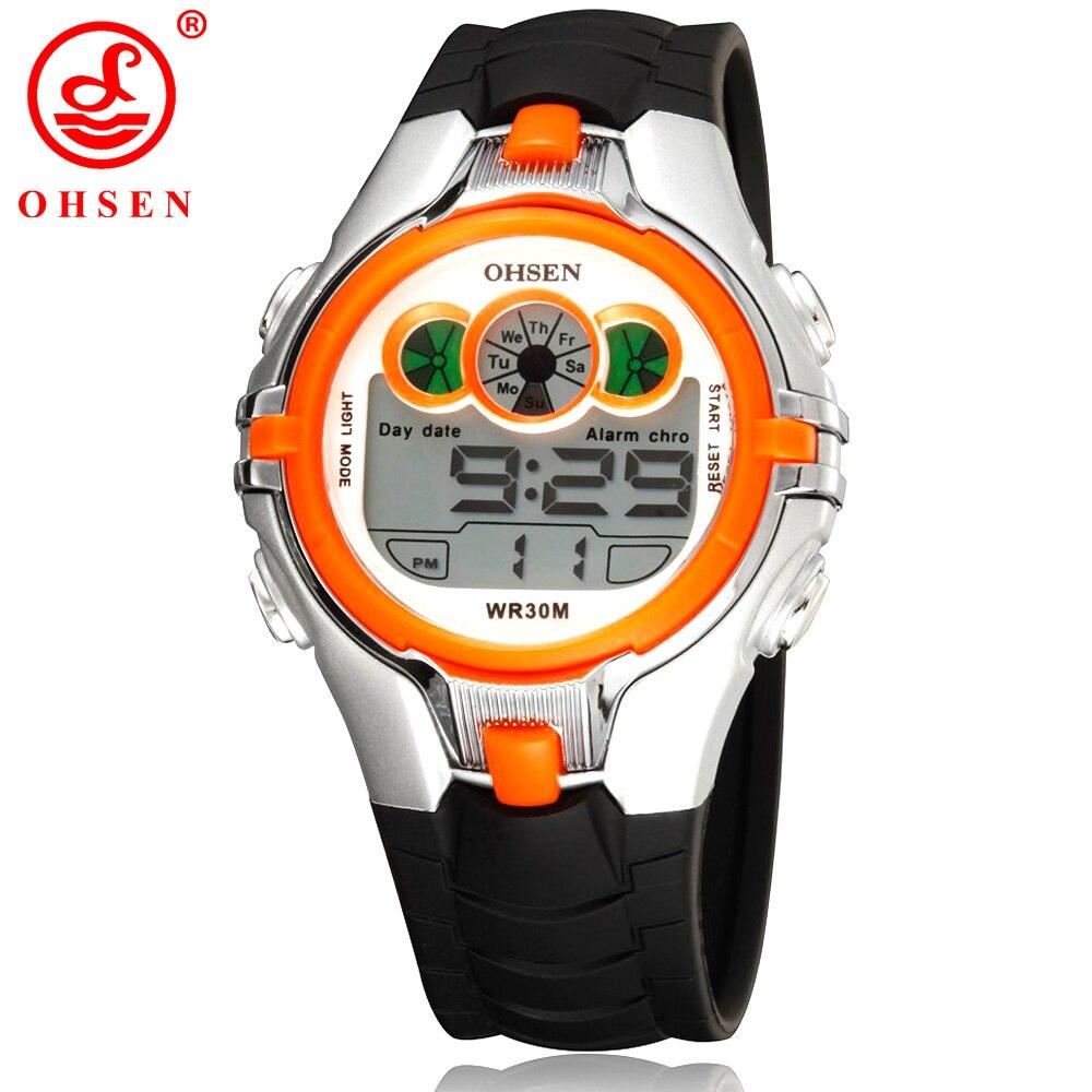 цена на OHSEN Boys Girls Children Kids Sport Watches Waterproof Orange Wristwatch 7 Colors LED Back Light Multi-functional Digital Watch