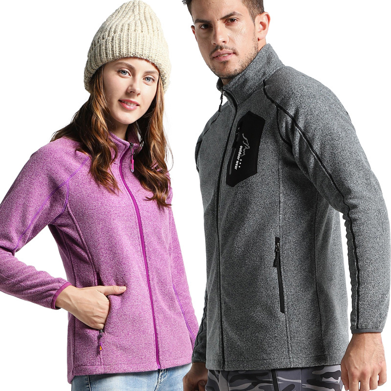 2019 New Autumn Winter Outdoor Men Set Women Fleece Breathable Windproof Cold Zipper Cardigan Hiking Jacket Keep Warm Claming