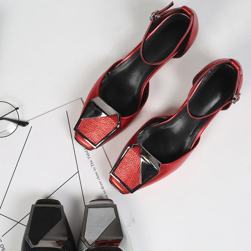 Boucle red Véritable Cheville silver Grande Chaude Chaussures Sandalias Femmes Mary D'été Med Talon Cristal Jane De Marque Cuir Black Sandales Designer Courroie hCtrxQds