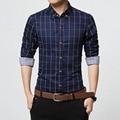 Más el Tamaño M-5XL Otoño Nueva Marca de Moda Los Hombres Ropa Slim Fit los hombres de Manga Larga Camisa de Los Hombres de Algodón A Cuadros Informal Camisa de Los Hombres Sociales