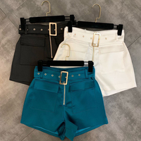 HIGH STREET Stylish 2019 Designer Shorts Women's Pockets Belt Shorts