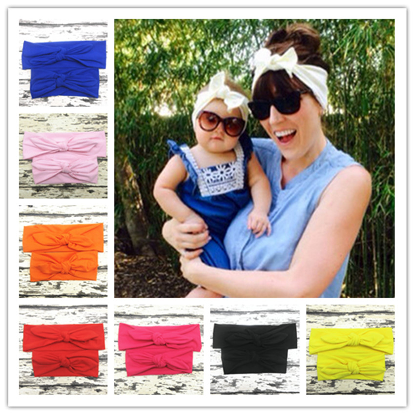 Mom and me Rabbit Ears knot elastic Hair bands Tie Bow Headband Hair Hoop Stretch Knot Bow Cotton baby headbands Accessories