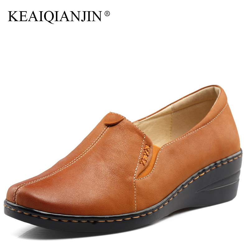 KEAIQIANJIN Woman Genuine Leather Lazy Shoes Spring Autumn Black Yellow Plus Size Flats Genuine Leather Loafers Shallow 2017 keaiqianjin woman sheepskin flats black red silvery plus size 33 41 spring autumn derby shoes lace up genuine leather shoes