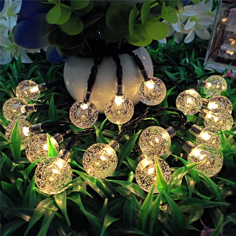 6.5m 30 led solar LED Light Waterproof ball LED PVC Wire String Holiday Outdoor led strip Christmas Party Wedding Decoration