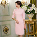 New Arrival Vintage Women's Wool Short Cheongsam Fashion Chinese Style Dress Elegant Qipao Size  M L XL XXL XXXL F092809