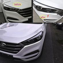 цена на For Hyundai Tucson 2016 2017 ABS Headlight Lamp Eyebrow Eyelid Eyebrows Cover Decoration Trim Molding Garnish