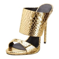 2019 newest sexy brown/yellow patchwork woman summer sandals peep toe dress woman shoes snakeskin slingback shallow sandals