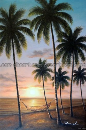 100 Hand Painted Hawaii Tahiti Sunset Beach Hammock Palm Trees Decoration Oil Painting Art Free