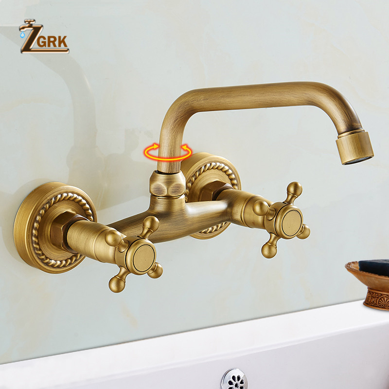 ZGRK Bronze salle de bains robinet mural bassin robinet 360 degrés Rotation Double poignée grue froide eau chaude mélangeur robinet Torneira