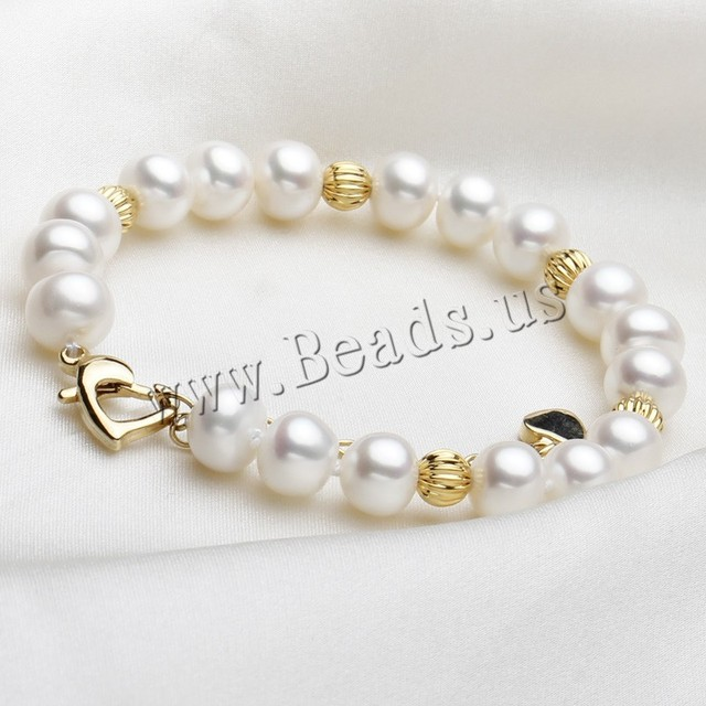 Hot Sale Pearl Bracelets Gold Beads Real Natural Freshwater Pearl Bracelet Cultured genuine Pearl Beads Bracelets For Woman
