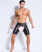 Sexy Hot Big Size Latex Lingerie Stage Wear Exotic Pants Gay Mens Plus Size Underwear Open Crotch Pole Dance Clubwear Gay Male