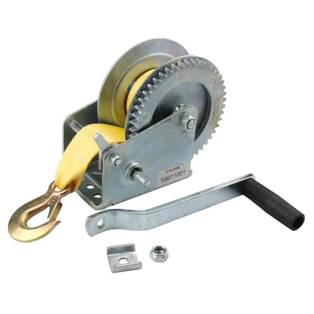 2000lb 1 Ton Hand Crank Steel Gear Cable Wire Winch Boat ATV Trailer w//Hook