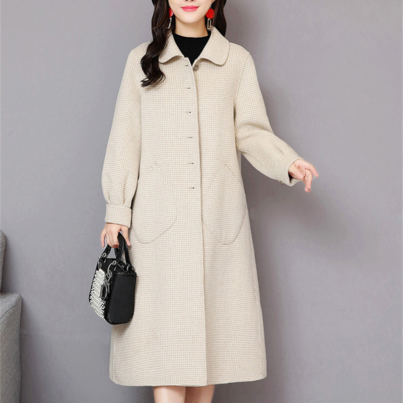 Beige Plaid Casual Oversize rosso Delle Lana Coreano grigio Tasche Stile Donne Di Elegante Cappotti Lungo Vintage 2018 Inverno XRUxWqwHZR
