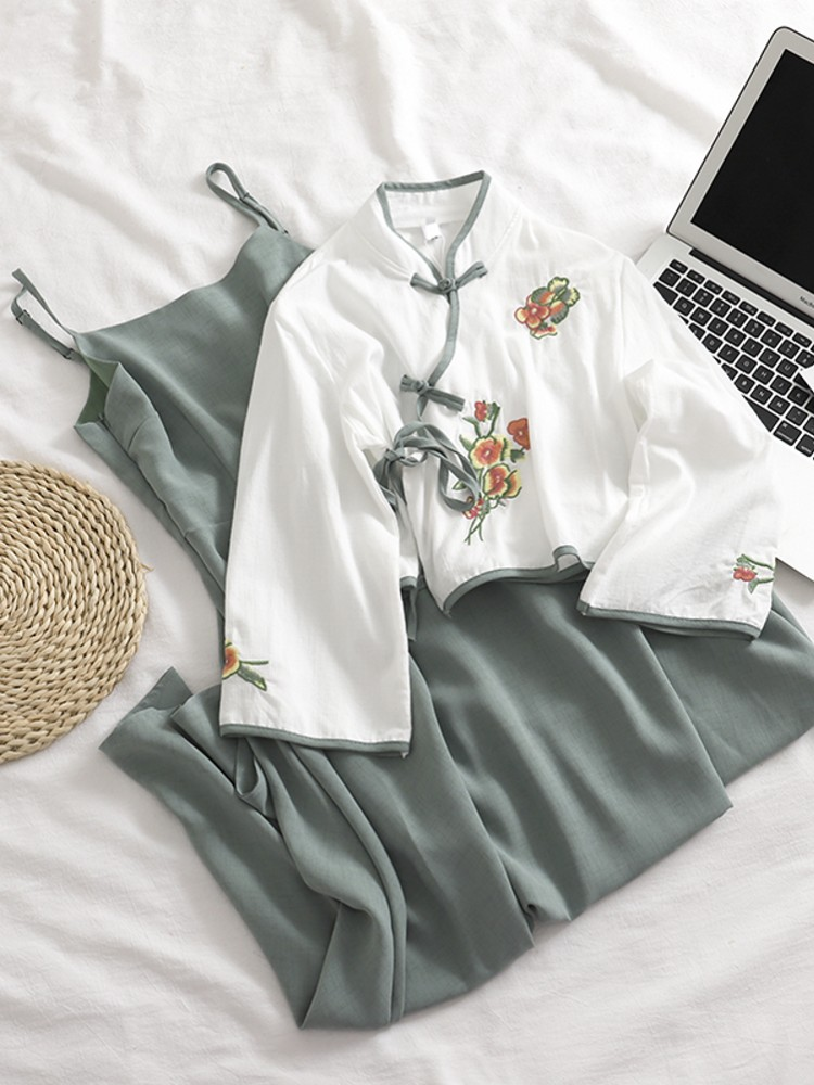 Traditional Chinese Two-piece Suit  Cotton Linen Blouse Embroidery National Style Women's Improved Clothes Short Tang Suit Tops