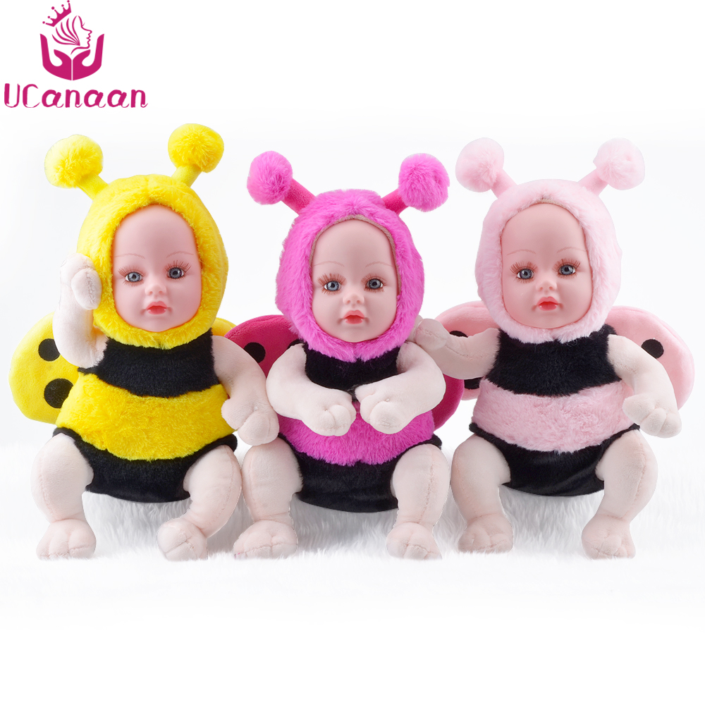 UCanaan 35CM Plush Stuffed Toys 3 Colors Open Eyes Bee Dolls Reborn Baby Kawaii Brinquedos Nano Doll For Children Gift Kids Toys eyes open 3 presentation plus dvd rom