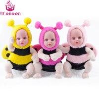 UCanaan 35CM Plush Stuffed Toys 3 Colors Open Eyes Bee Dolls Reborn Baby Kawaii Brinquedos Nano Doll For Children Gift Kids Toys