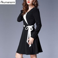 Mn Winter Dress V Neck Full Sleeve Sashes White Black Patchwork Women Clothes Spring Two Piece