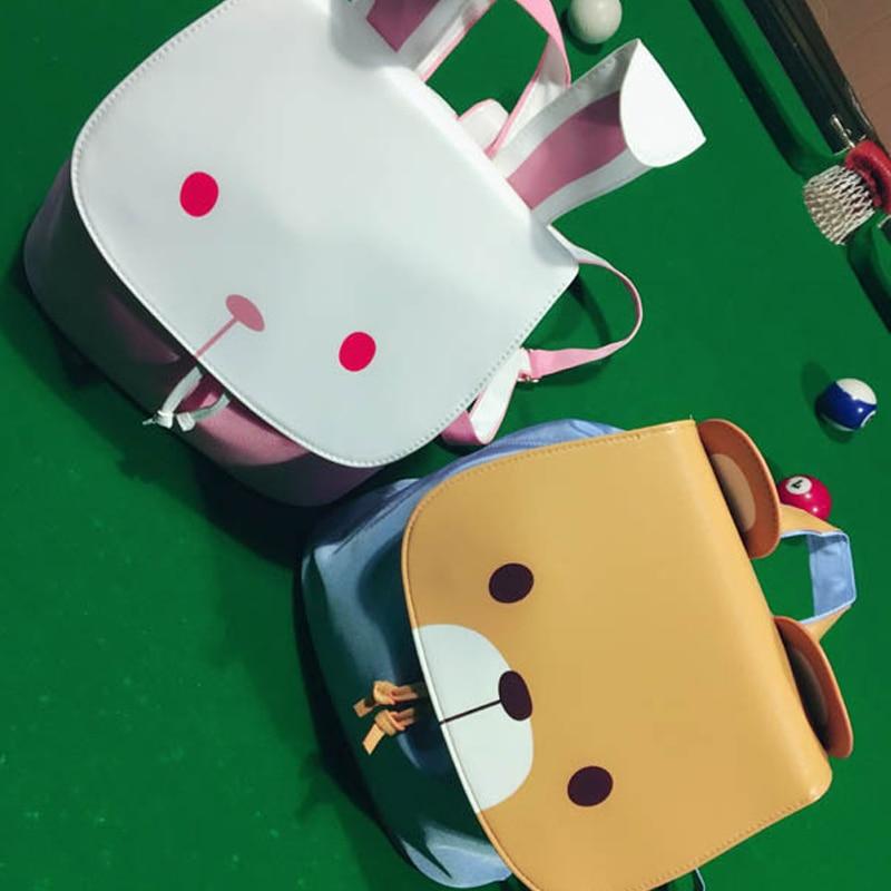 Cartoon Kawaii Bear Backpack Rabbit Ear Solid Bucket Backpack PU Canvas Joker Leisure Lilita Backpack Preppy