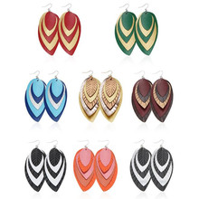 Bohemia Glitter Sequins  Layers Leather Earrings For Women Feather Leaf PU Fashion Jewelry Wholesale