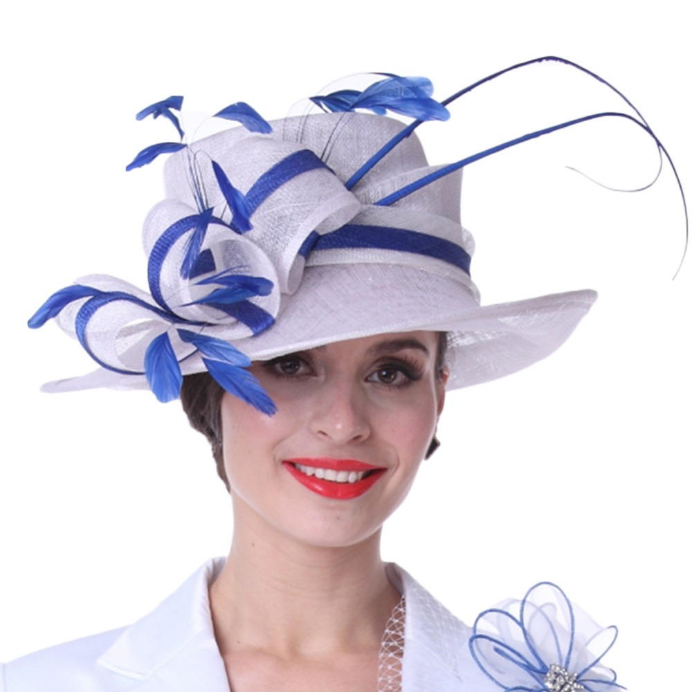Kueeni Women Sun Hats Feathers White Blue Color Lady Weddding Dress Wear  Church Party Elegant Lady Floral Pattern Match Suit Hot-in Fedoras from  Apparel ... a9a25bbc14df