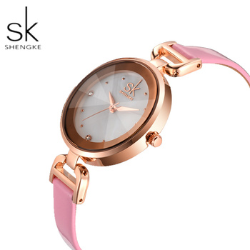 SK SHENGKE Fashion Rose Gold Women's Watches Top Brand Diamond Watch Women Watches Small Leather Ladies Watch Relogio Feminino image