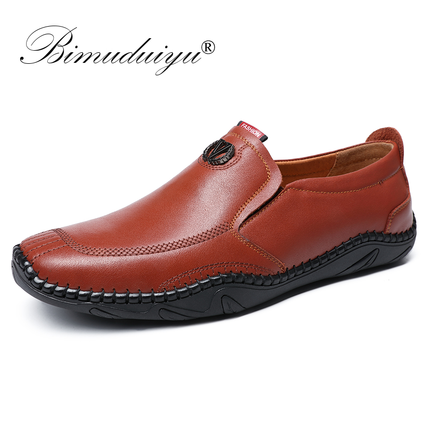 BIMUDUIYU Handmade Genuine Leather Loafers Men Brand Casual Shoes Soft Comfortable Moccasins Fashion Business Footwear For