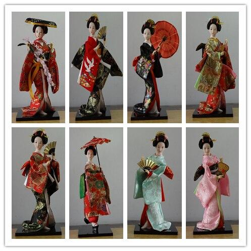 12*30 cm oriental seda japonés muebles kimono Kabuki Geisha Doll brocado kimono Geisha muñeca figura decoración del hogar