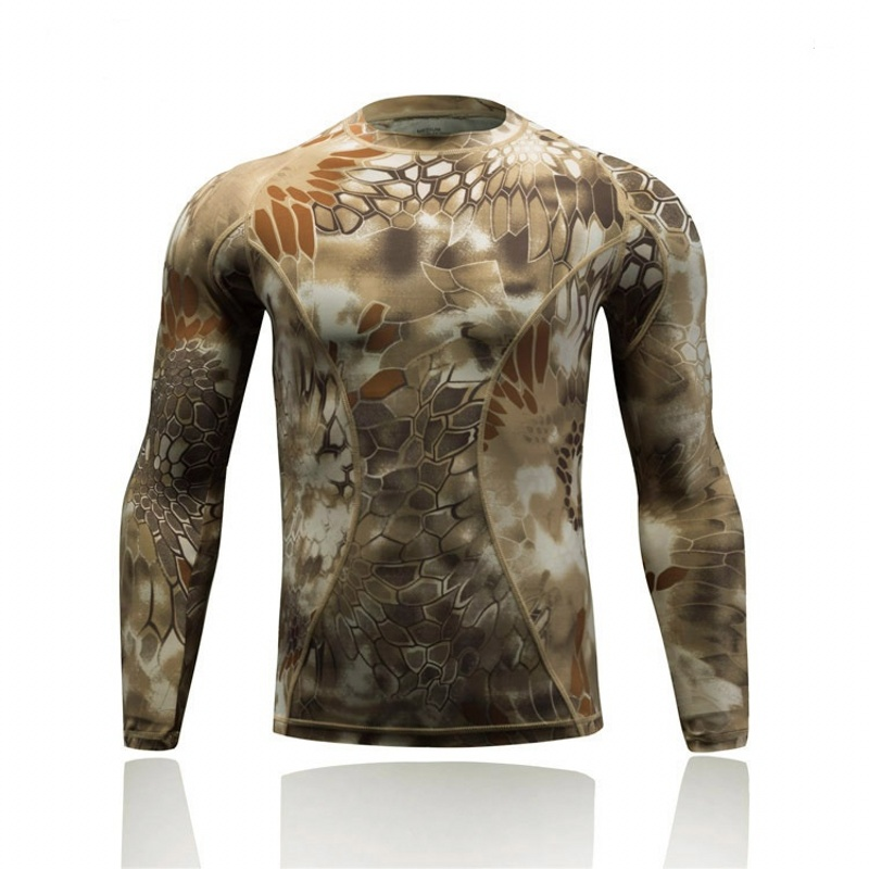 Quick Dry Tactical Combat Shirt Camo Men Long Sleeve T Shirts Outdoor Sport Hiking Hunting Military Base Layer Army Shirt
