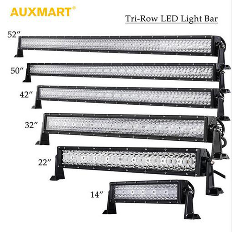 Auxmart Tri Row 14 22 32 42 52 50 Straight LED Light Bar Offroad Combo Beam Bar Light Truck Trailer Camper 4X4 4WD ATV SUV sufemotec 5d 14 22 32 42 52 500w led light bar straight combo beam driving lamps for off road truck 4x4 4wd suv atv