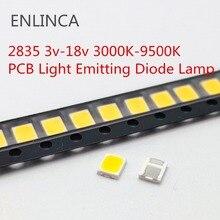 100 шт. SMD LED 2835 чипы 1 Вт 3 в 6 в 9 в 18 в бусины свет белый теплый 0,5 Вт 1 Вт 130лм поверхностное крепление PCB светоизлучающие лампы