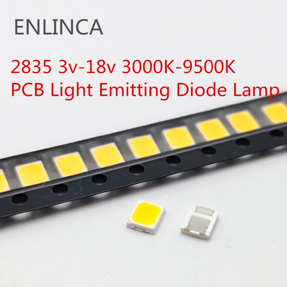 100pcs <font><b>SMD</b></font> <font><b>LED</b></font> <font><b>2835</b></font> Chips 1W 3V 6V 9V 18V beads light White warm 0.5W 1W 130LM Surface Mount PCB Light Emitting Diode Lamp image