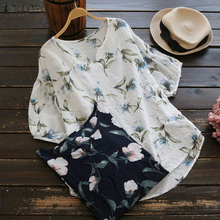 Plus Size 2018 ZANZEA Women Elegant O Neck Latern Sleeve Summer Floral Print Blouse Casual Loose Work OL Cotton Linen Shirt Top