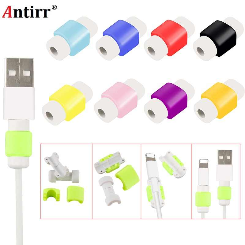 1Pce Mini Cute Silicone USB Cable Earphone Protector Plastic Cord Protection Wire Cover Winder for Iphone Huawei Xiaomi Samsung