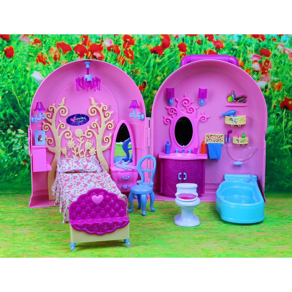 Plastic DIY Dollhouse in Trolley Suitcase Carry A Home Playset for 29cm Fashion Dolls Accessories Girls