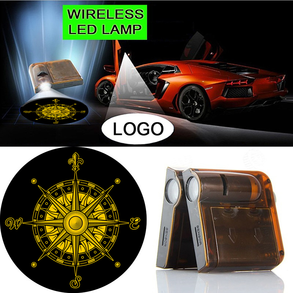 2x Car Door Wireless Courtesy Welcome LED Laser Projector Ghost Shadow Lights For Logo Yellow Vintage Compass #1949 2 pcs fc barcelona wireless led car door projectors