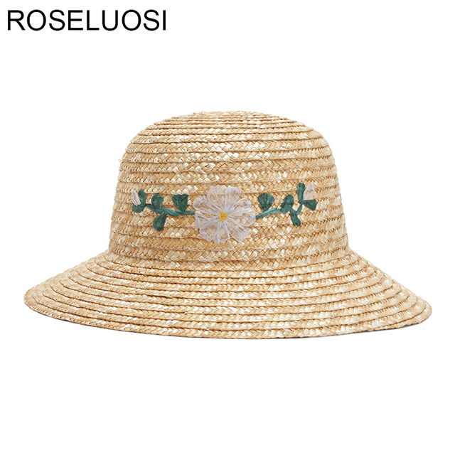 cacf312d46f92 ROSELUOSI 2018 Summer Straw Hats For Women Fashion Flower Embroidery Sun Hat  Ladies Beach Cap Sombreros Mujer Verano