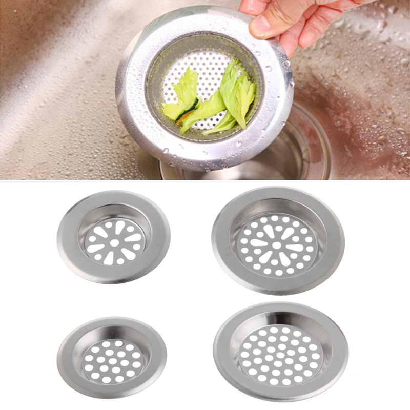 Stainless Steel Mesh Sink Strainer Kitchen Bath Hair Catcher Trap Drain Filter Without Faucet