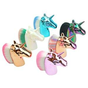Image 1 - Unicorn Makeup Brushes Unicorn horse Rainbow Holder For Powder Foundation Blush Contour Big Make up unicornio pincel Beauty Tool