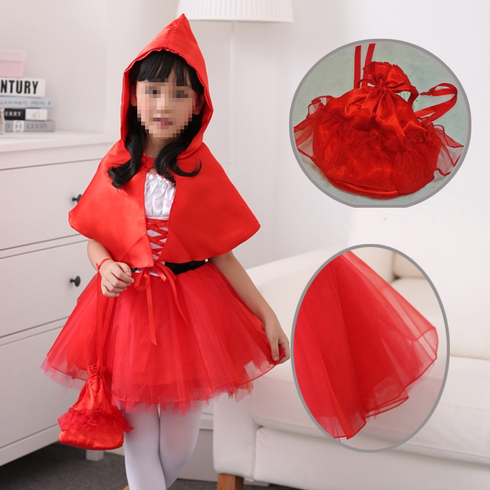 New Little Red Riding Hood cosplay carnival kid child suit party costume halloween role-playing dress+cloak girl uniform