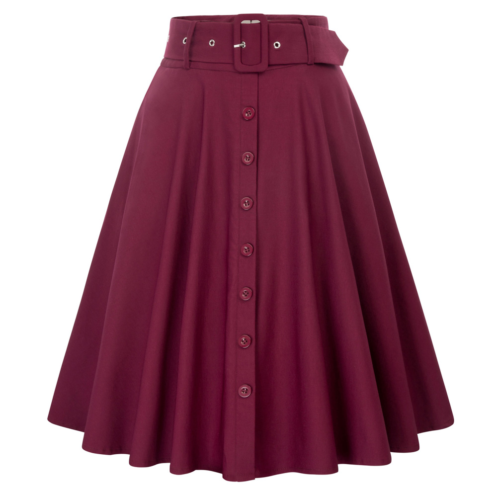 Women Solid Color Buttons Decorated Flared A-Line Skirt With Belt Pockets solid color Pleated skirt