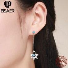 Новое поступление 925 пробы серебряные синие Молодежные длинные висячие серьги для женщин ювелирные изделия из стерлингового серебра Brincos Femme