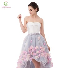 Fashion Strapless Sleeveless Short Front Long Back Lace Flower Evening Dress