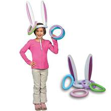 Inflatable Bunny Rabbit Ears Hat with Rings Holiday Christmas Party Cute Fun Christmas Themed Ring Toss Game(China)