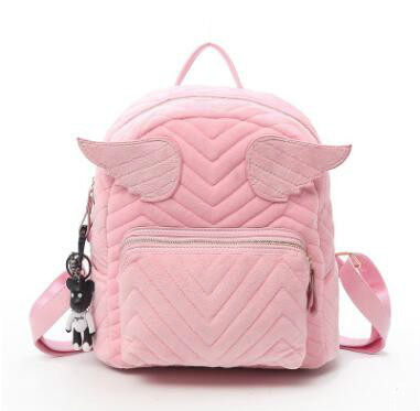 Cartoon Cute Wings Bat Velvet Backpack Designer High Quality Rucksack Women Cute Backpack School Bags For Girls Sac S Dos Femme