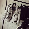 2016 designer cc brand women spring/fall plaid/Houndstooth woolen blazer slim celebrity tweed jacket casual outerwear work wear