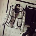 2016 designer de marca cc mulheres primavera/outono xadrez/Houndstooth lã blazer magro celebridade tweed jaqueta casual outerwear trabalho desgaste