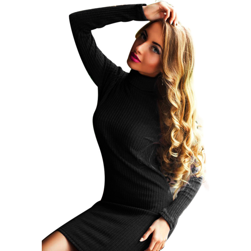 Feitong Autumn Winter Dress For Women Knitted Sweaters Sexy Women Mini Dress Long Sleeve Evening Party Dress Vestidos Femininos