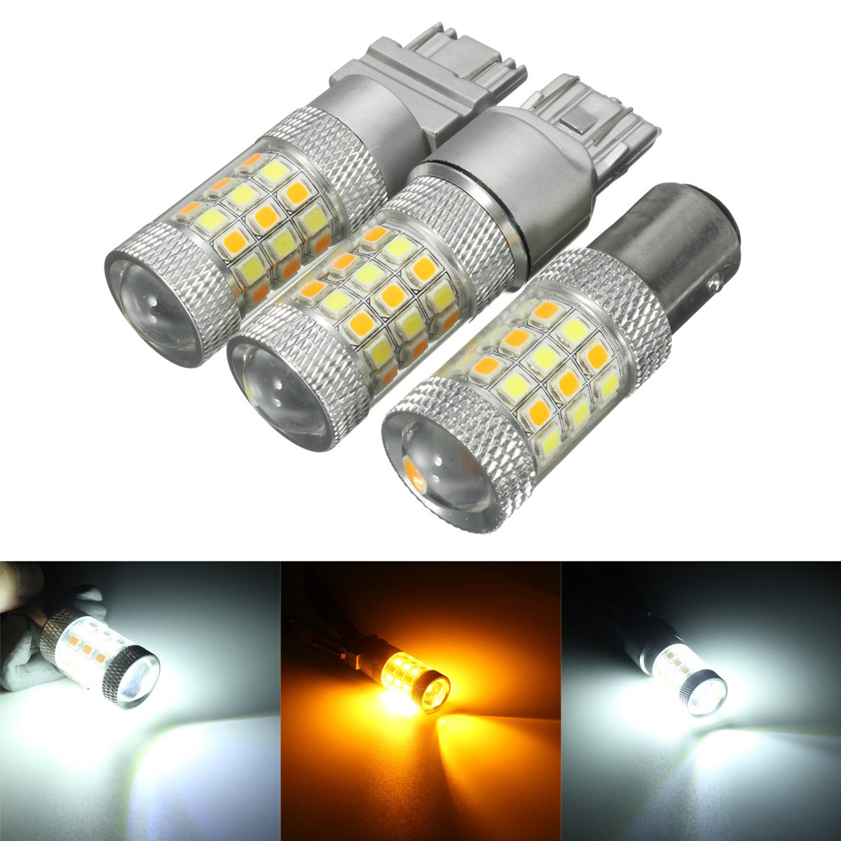 1157 3157 7443 42LED Car  LED Lamp T25 BAY15D Tail Brake Stop Light Double Color White+Yellow Turn Indicator Light Bulb 1 x t25 3157 50w led car auto signal brake stop tail light bulb signal lamp white external lights